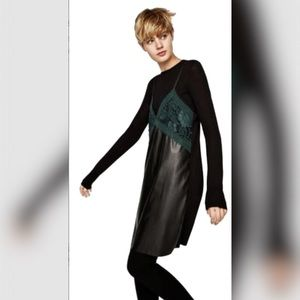 🆕 Zara Faux Leather & Lace Camisole Slip Dress